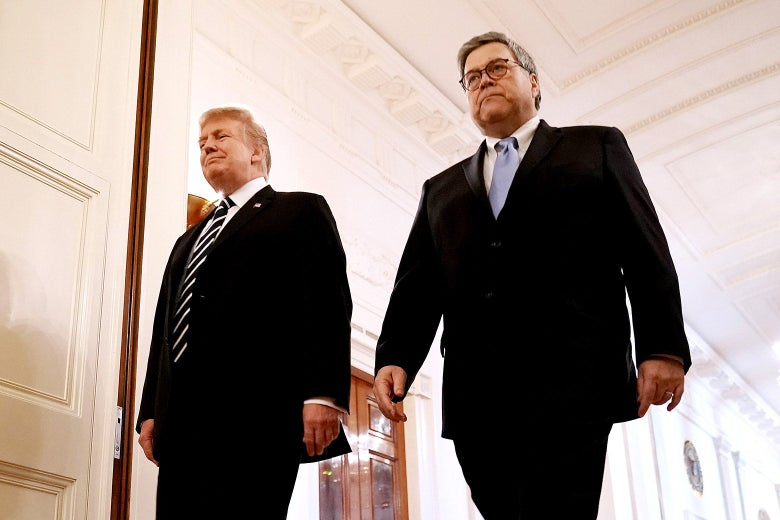 Donald Trump and William Barr in the East Room of the White House on May 22.