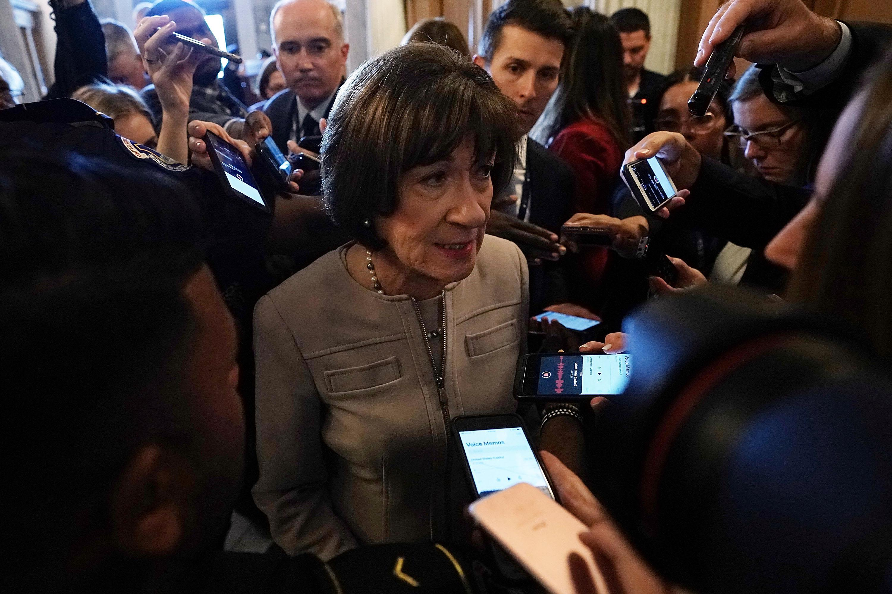 Sen. Susan Collins (R-ME) speaks to reporters at the U.S. Capitol on October 5, 2018 in Washington, D.C.