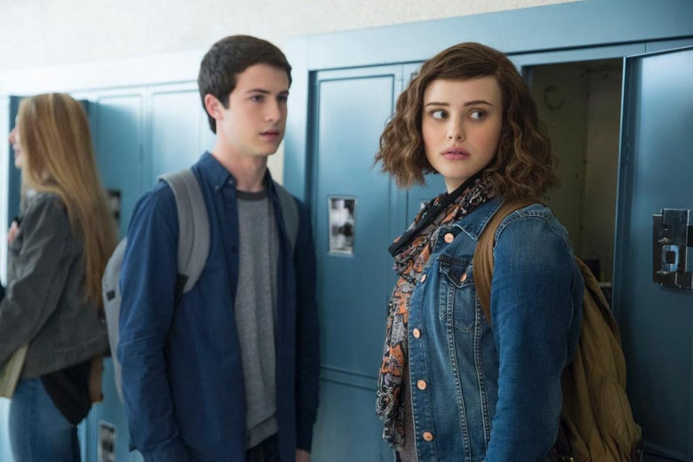 Dylan Minnette and Katherine Langford in 13 Reasons Why.