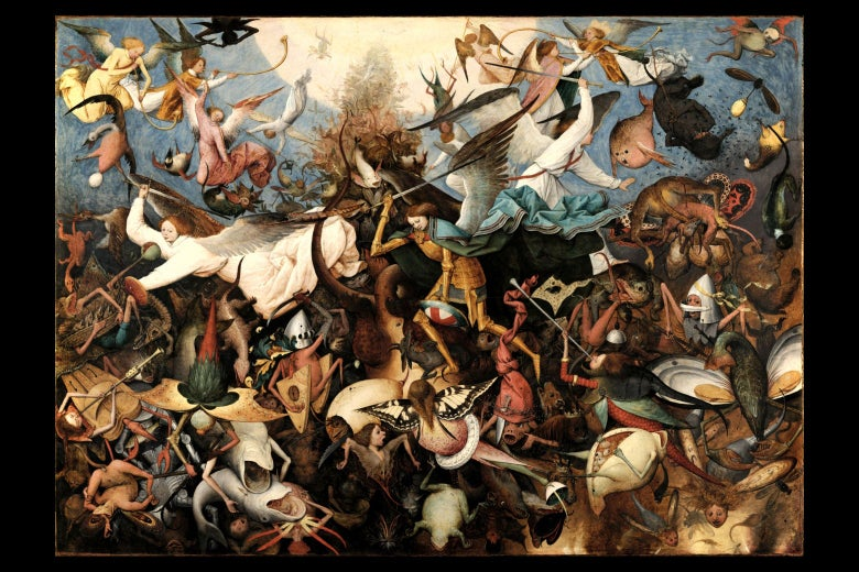 Bruegel's painting depicting a chaotic array of angels