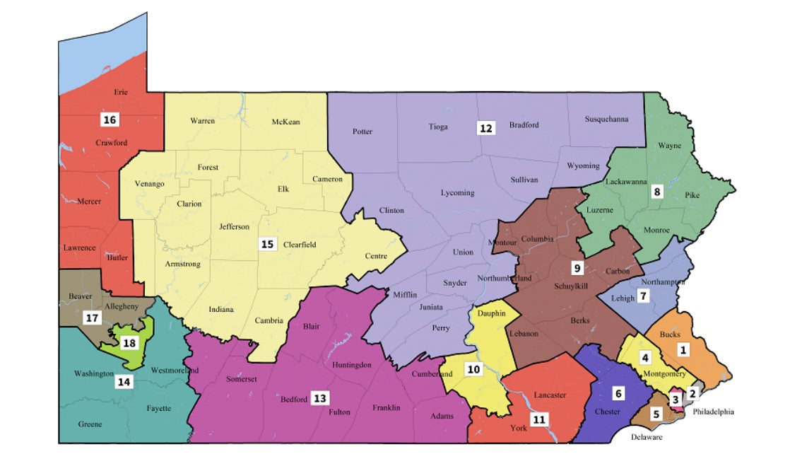 An image of new Pennsylvania congressional maps, with its 18 districts displayed in different colors.
