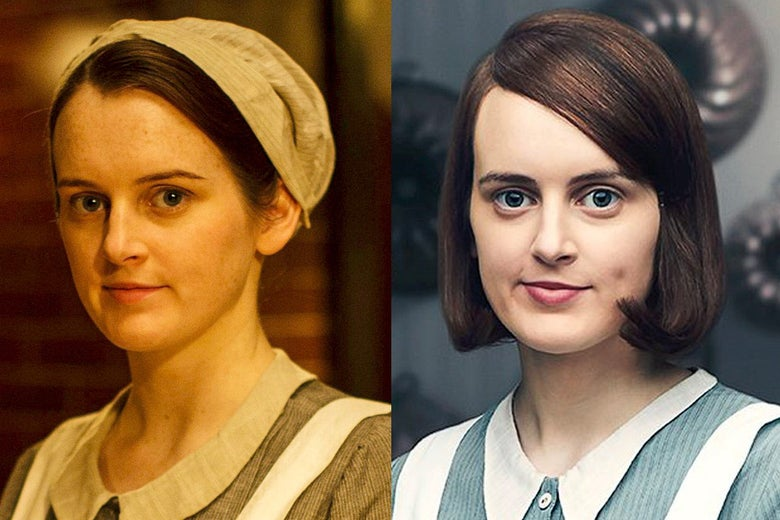Side-by-side images of Sophie McShera as Daisy in Downton Abbey the TV show and the movie