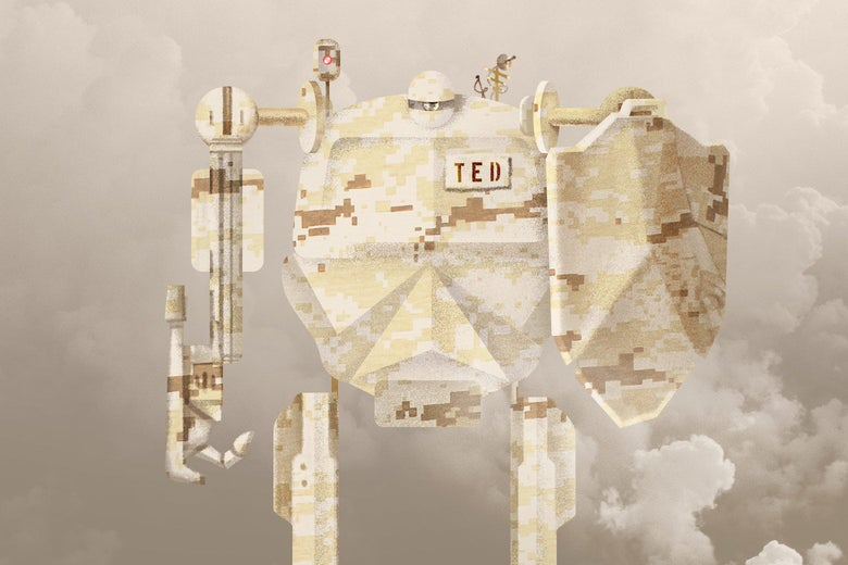 """A big robot with a shield and a nametag reading """"TED"""""""