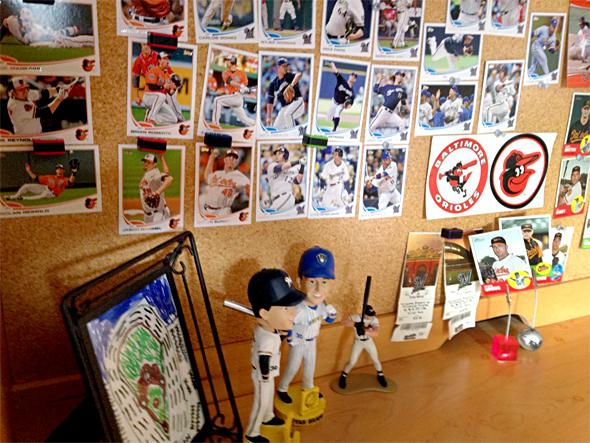 The desk of a baseball loving 8-year-old.