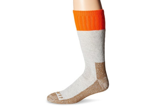 Calf-length sock with orange top.