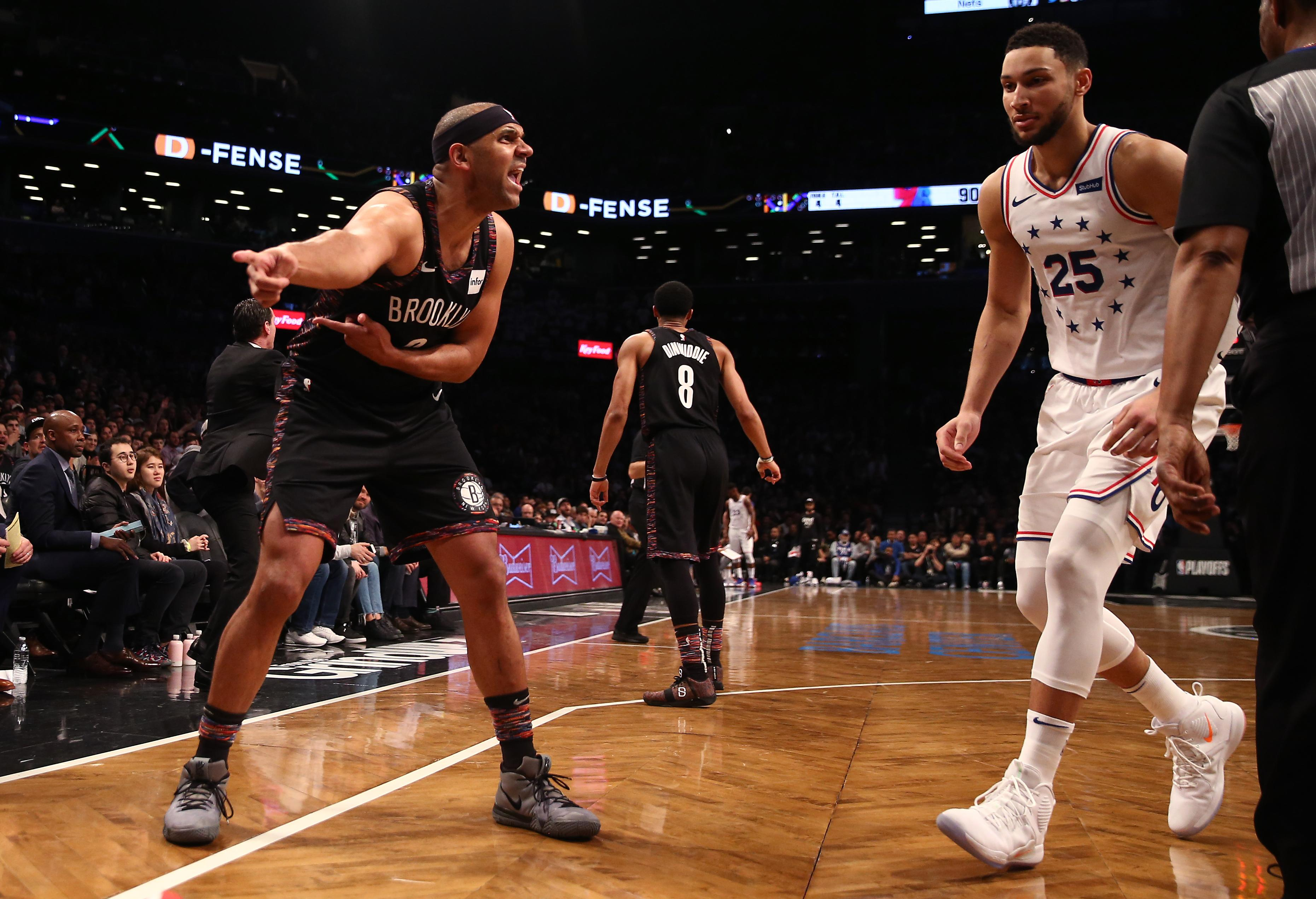 NEW YORK, NEW YORK - APRIL 18: Jared Dudley #6 of the Brooklyn Nets reacts after a play in the third quarter against the Philadelphia 76ers during game three of Round One of the 2019 NBA Playoffs at Barclays Center on April 18, 2019 in the Brooklyn borough of New York City. NOTE TO USER: User expressly acknowledges and agrees that, by downloading and or using this photograph, User is consenting to the terms and conditions of the Getty Images License Agreement. (Photo by Elsa/Getty Images)