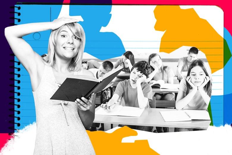 A clueless kindergarten substitute teacher and her bored classroom