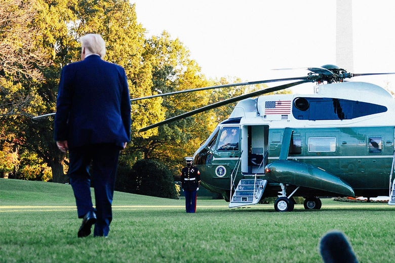 Trump, back to camera, walking toward Marine 1