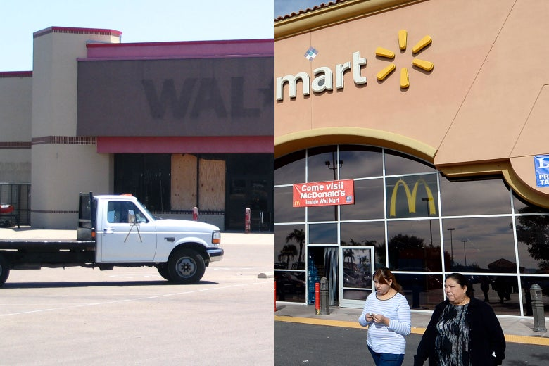 At left, an empty Walmart. At right, a thriving Walmart.