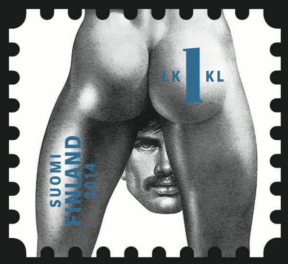 One of the Tom of Finland stamp designs.
