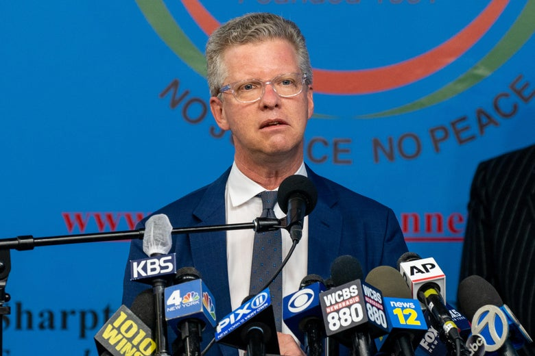 Shaun Donovan speaks at a mic during a press conference in New York City on March 18
