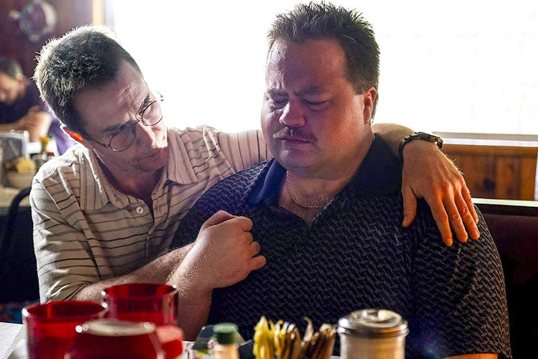 Sam Rockwell and Paul Walter Hauser in Richard Jewell.