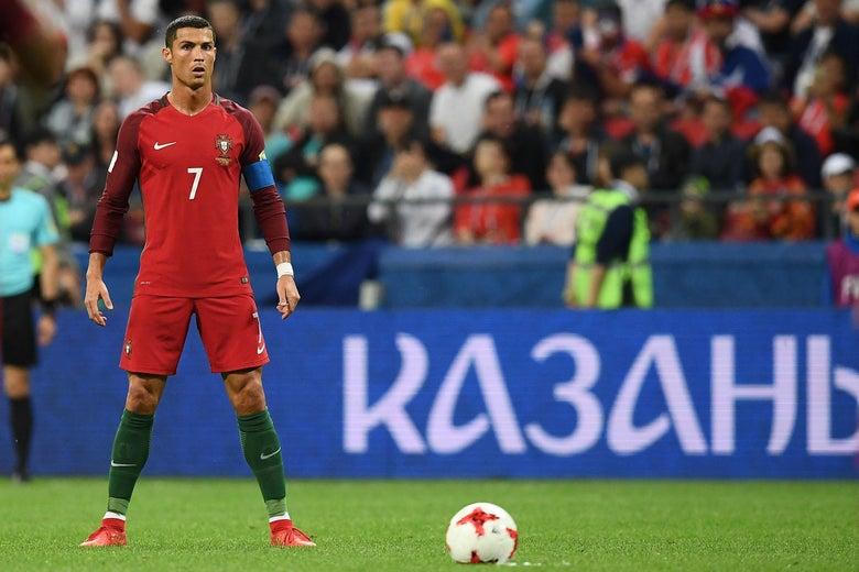 Portugal's forward Cristiano Ronaldo prepares for a free kick.