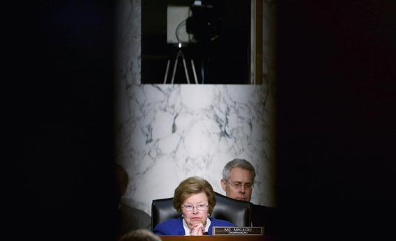 "Senate Appropriations Committee Chairwoman Barbara Mikulski (D-MD) questions witnesses during a committee hearing about the potential impacts of ""the sequester"" on Capitol Hill February 14, 2013 in Washington, DC."