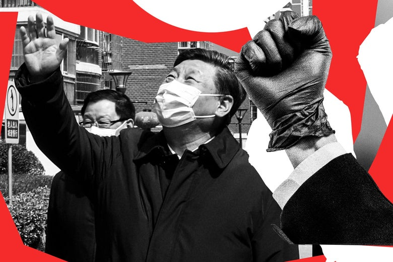 Xi Jinping wearing a mask and waving to someone above, next to a clenched fist in a latex glove.
