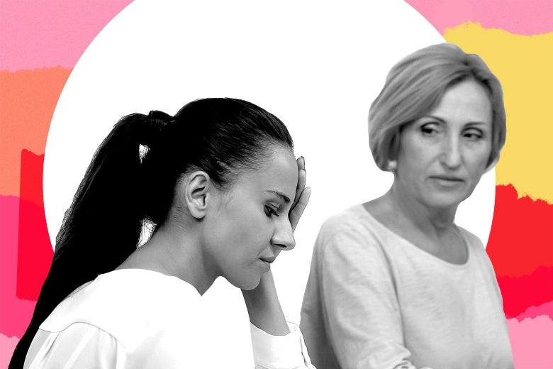 A woman stressed out as she sits next to her mother-in-law.