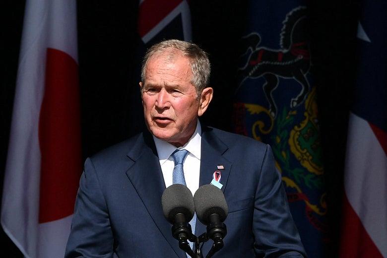 Former President George W. Bush speaks during a 9/11 commemoration at the Flight 93 National Memorial in Shanksville, Pennsylvania on Sept. 11, 2021.