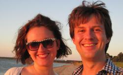 The author with her fiance, Travis Morrison, in 2010