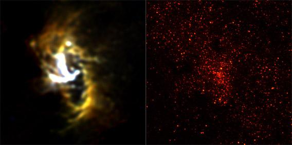 Two images of the center of the Milky Way.