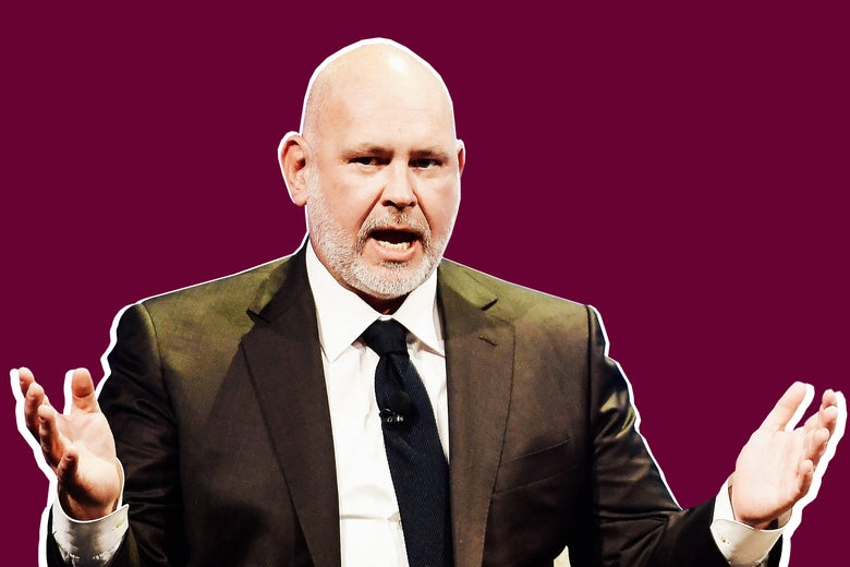 Photo illustration of Steve Schmidt holding out his hands while speaking.