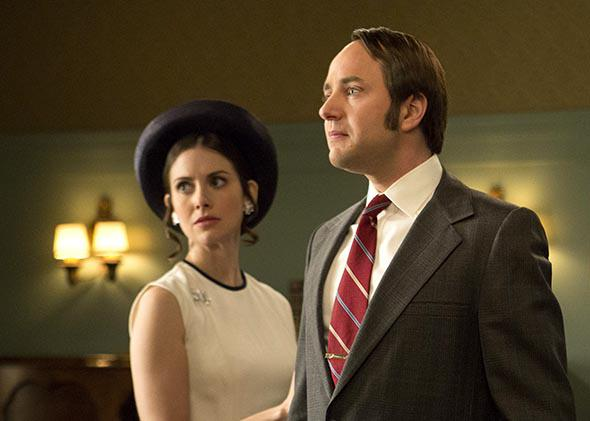 Alison Brie as Trudy Campbell and Vincent Kartheiser as Pete Campbell in Mad Men.