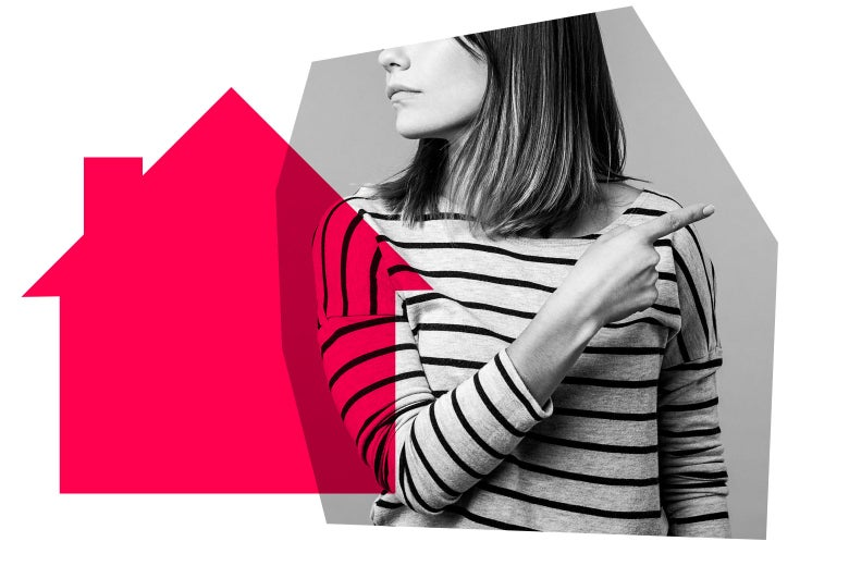 Woman pointing at the exit surrounded by an outline of a pink house.