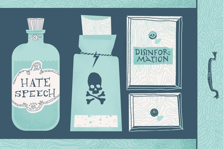 """A drawer filled with a bottle labeled """"hate speech,"""" another bottle with a skull and crossbones on it, and a file labeled disinformation."""