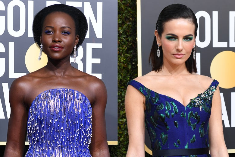 Lupita Nyong'o and Camilla Belle and the 2019 Golden Globes.