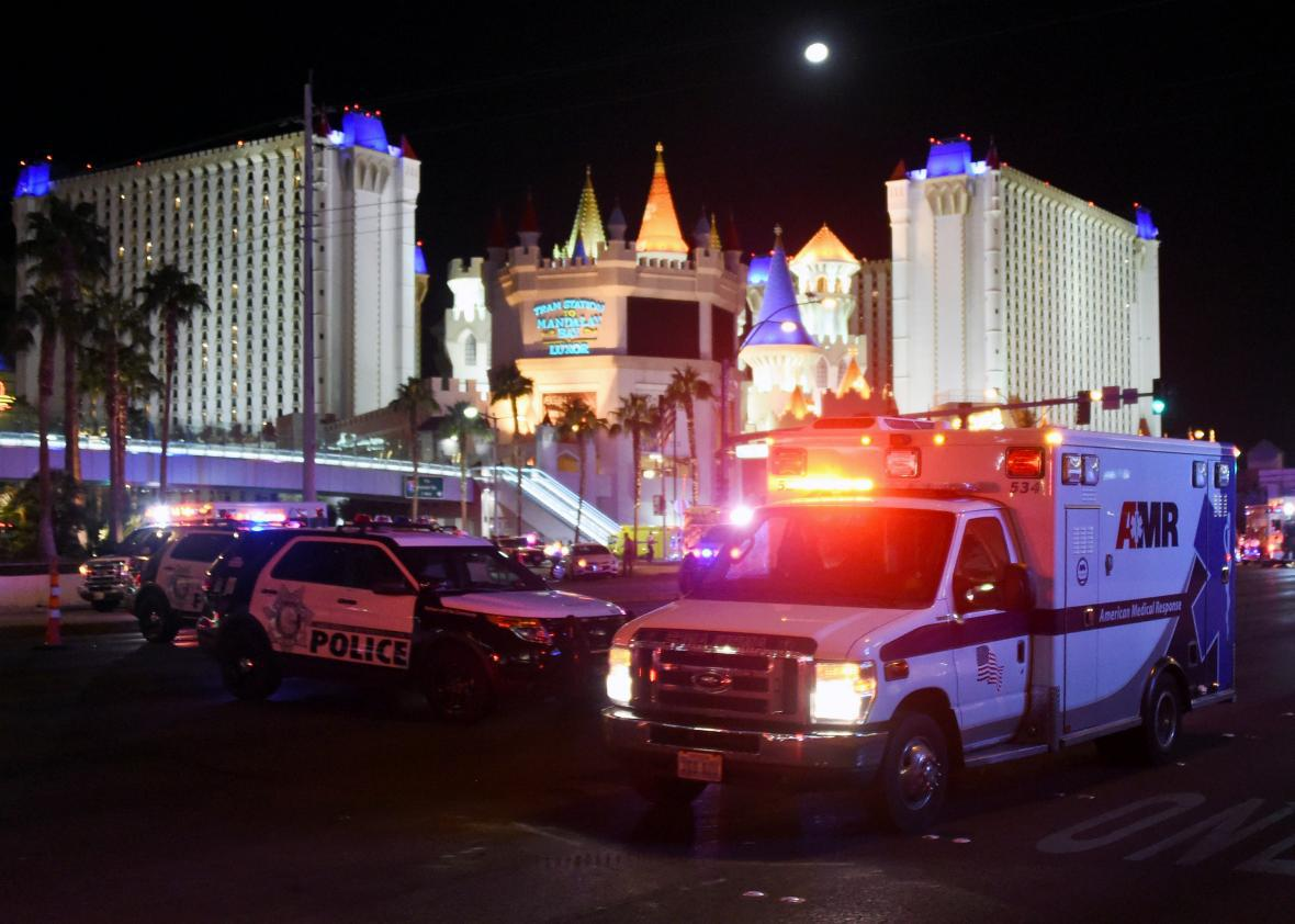 An ambulance after Sunday's mass shooting in Las Vegas
