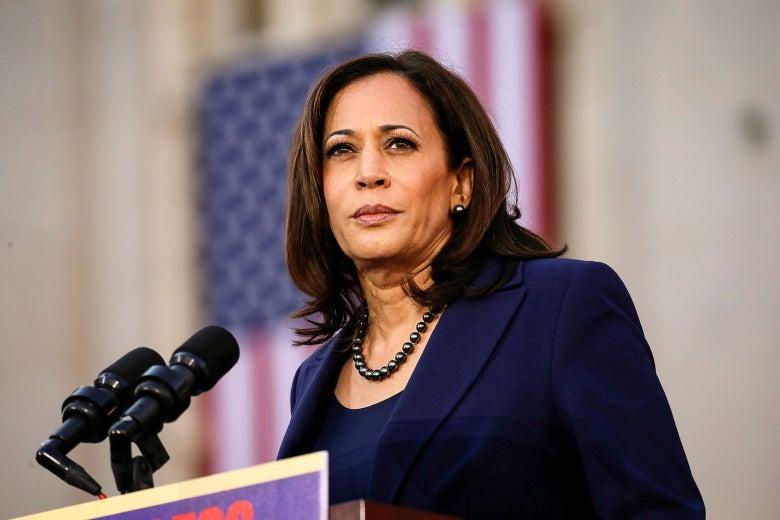 Kamala Harris speaking at a podium.