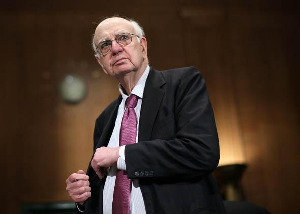 Former Federal Reserve Board Chairman Paul Volcker arrives at a hearing before the Financial Institutions and Consumer Protection Subcommittee of Senate Banking, Housing and Urban Affairs Committee, May 2012 in Washington, DC.