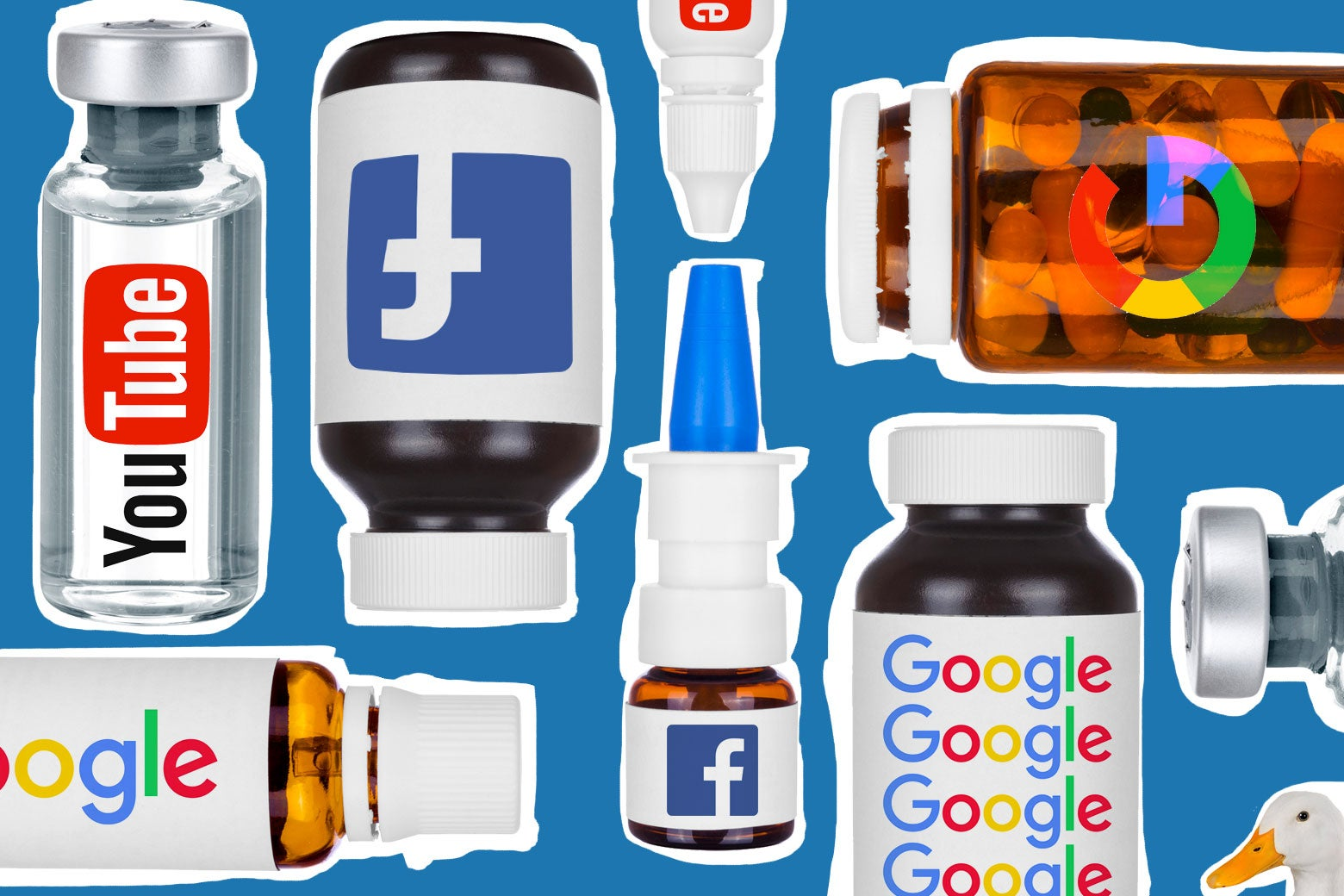 Logos for Facebook, Google, and Youtube on various medicine bottles, along with a duck.