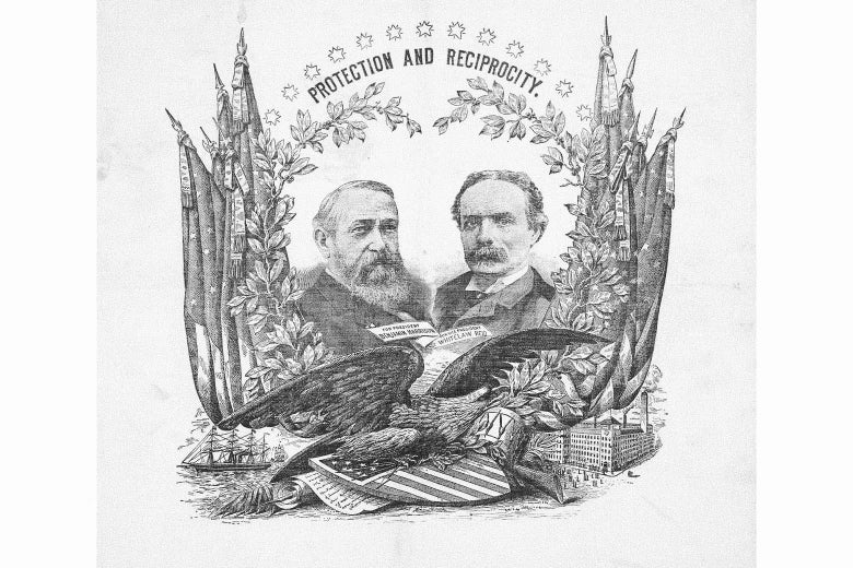 """A vintage campaign souvenir for the Harrison/Reid ticket, with the slogan """"Protection and Reciprocity"""" at the top."""