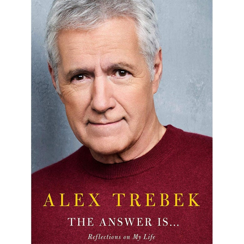 Alex Trebek on the cover of his book, The Answer Is...