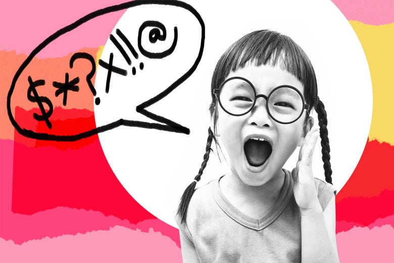Photo illustration: A young girl with braided pigtails shouts. A speech bubble with suggested swear words has been added to the image.