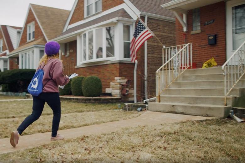 An anti-abortion canvasser campaigns for Democrat Dan Lipinski in Illinois.