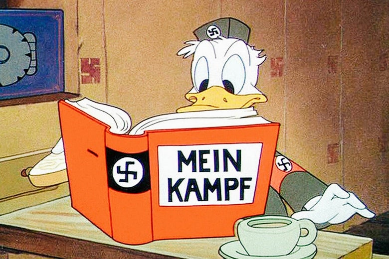 Donald Duck reads Mein Kampf.