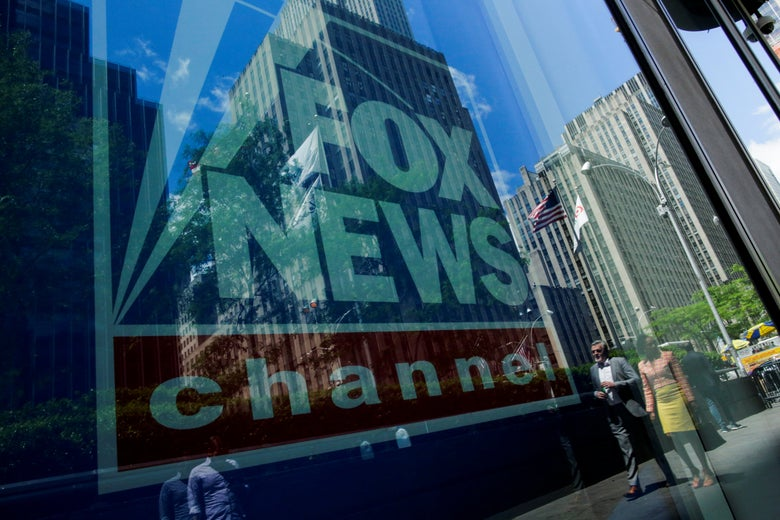 The Fox News logo outside its headquarters in Manhattan.