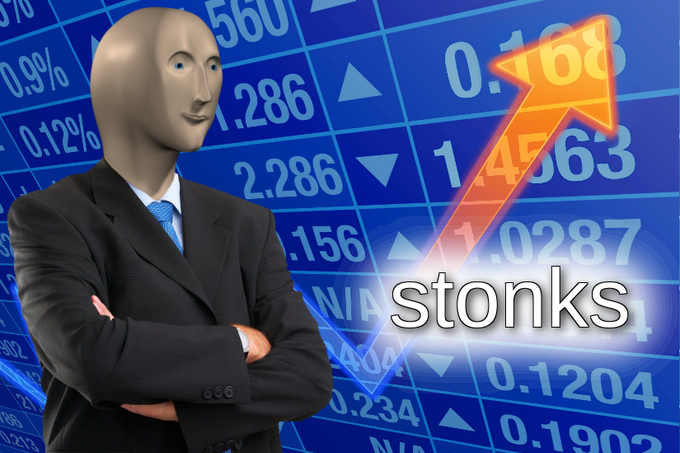 "Businessman with computer-generated head, arms crossed, wearing a suit, stands next to the word ""stonks"" and a spiking trendline. The background is a stock board."