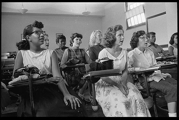 An integrated classroom at Anacostia High School, Washington, DC, 1957.