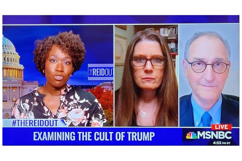Hassan in an MSNBC appearance alongside Mary Trump on The ReidOut, November 2020.