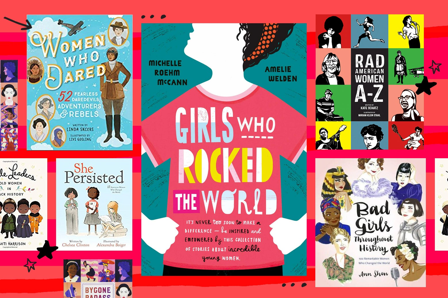 """A collage of the cover of Girls Who Rocked the World and other books about """"rebel"""" women in history."""