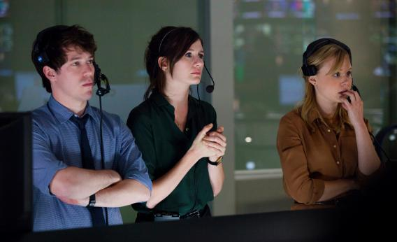 THE NEWSROOM episode 1: John Gallagher, Jr., Emily Mortimer, Alison Pill. photo: John P. Johnson.