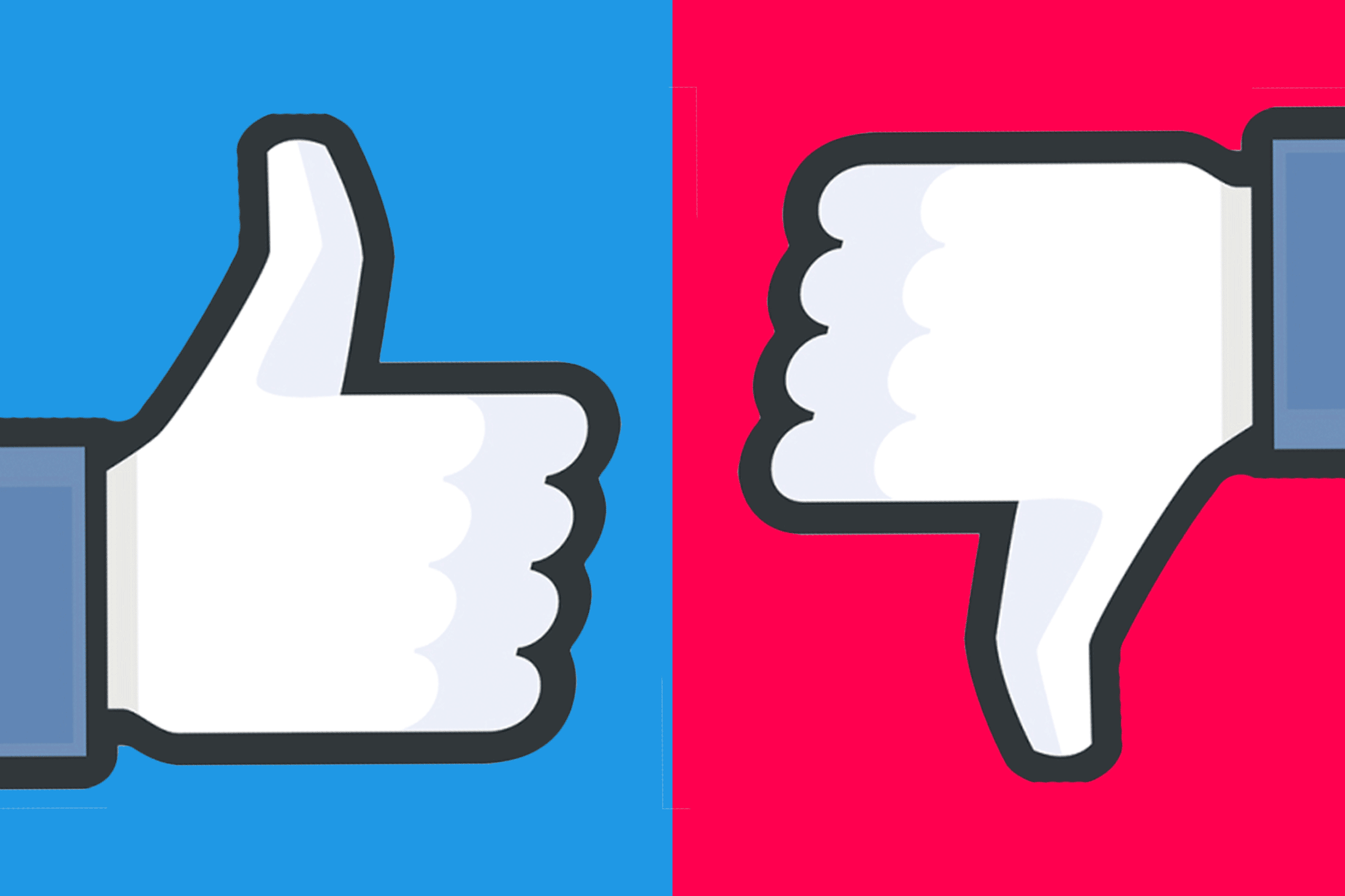 A Facebook thumbs-up and thumbs-down.