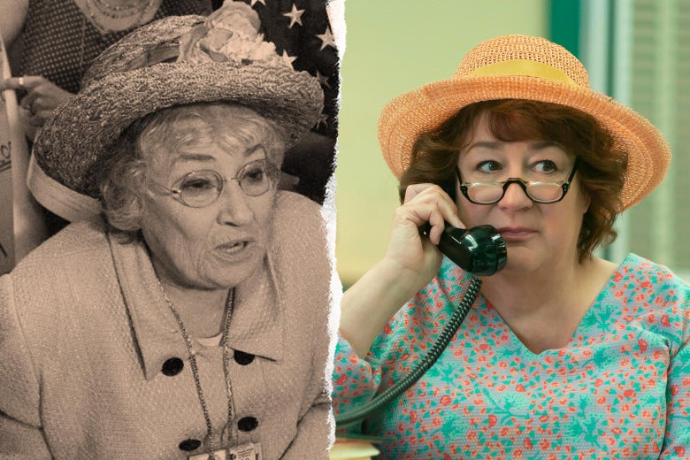 A black and white photograph of the real Bella Abzug, wearing her famous big hat and glasses, beside a color image of Margo Martindale playing Abzug on Mrs. America, in a similar hat and glasses.