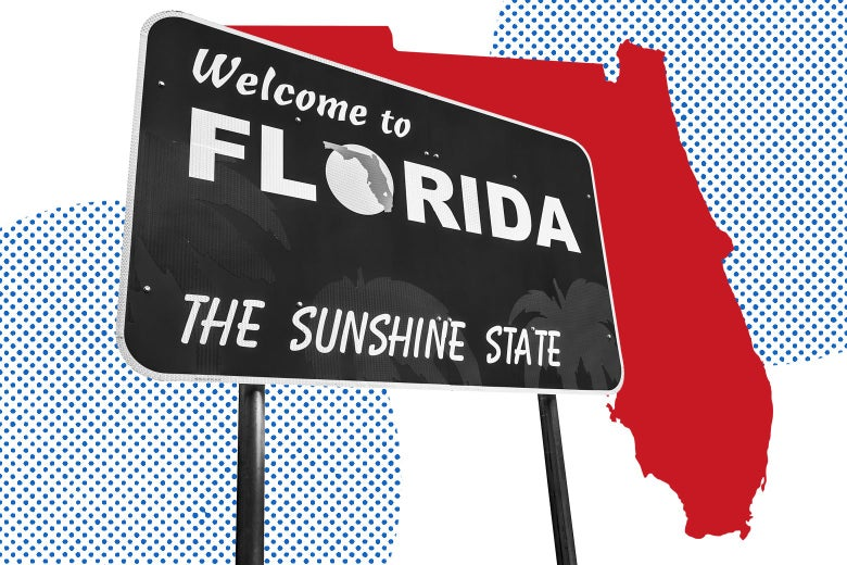 """A sign reads """"Welcome to Florida, the Sunshine State"""" in front of an outline of the state."""