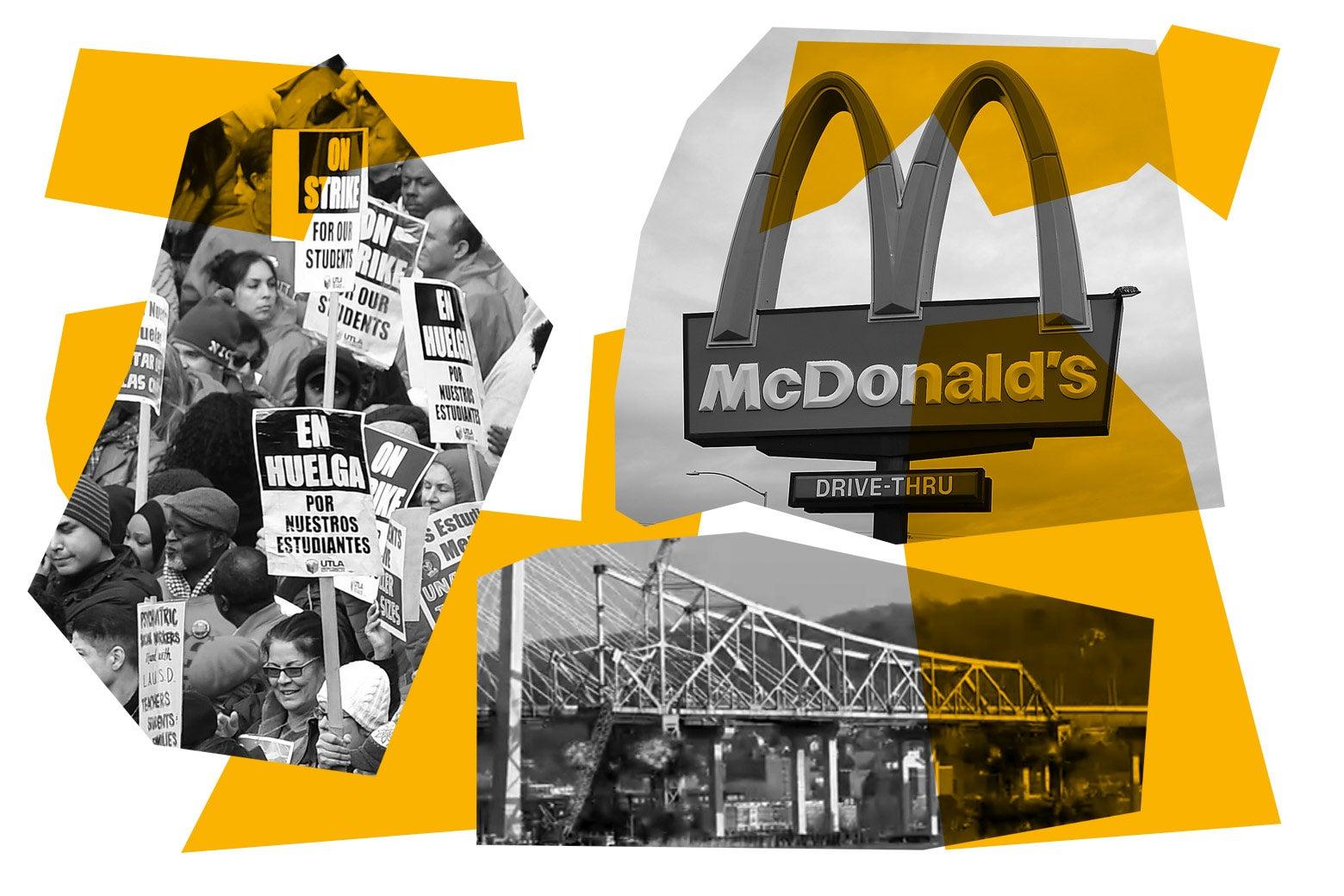 L.A. teachers protest, McDonald's arch, Tappen Zee Bridge