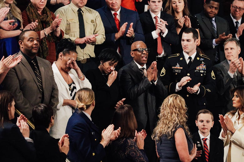 Robert Mickens, Elizabeth Alvarado, Evelyn Rodriguez, and Freddy Cuevas, parents of children who were murdered by MS-13, are acknowledged as U.S. President Donald J. Trump delivers the State of the Union on Tuesday.