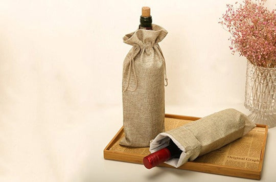 HRX Package Burlap Wine Bags With Drawstring.