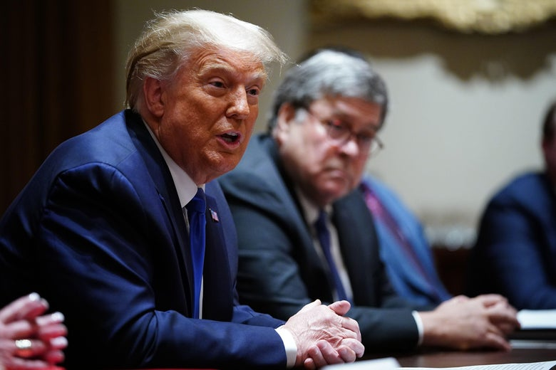 Trump, speaking, and Barr seated at a conference table with other government officials